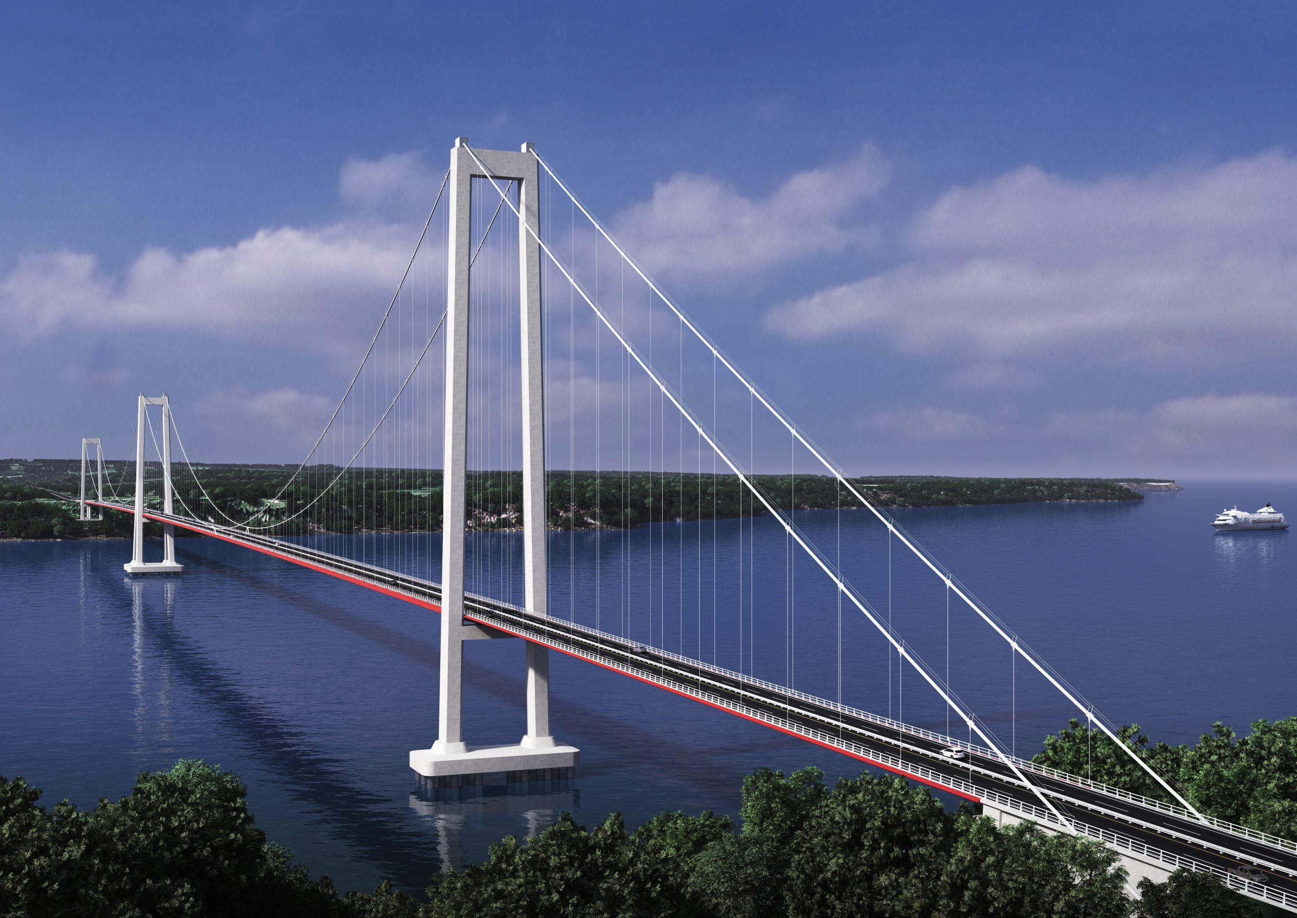 Con una longitud total de 2.750 m, el puente Chacao unirá los sectores de Punta Coronel en el Continente y Punta San Gallan en la Isla de Chiloé. Será del tipo colgante continuo en dos tramos de 1.155 y 1.055 m en los lados norte y sur, respectivamente, con cuatro pistas de circulación de 3.5 m cada una con berma exterior de 1.5 m, para una velocidad de circulación de 80 km/h.